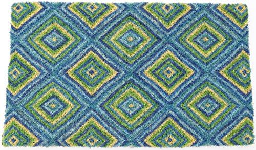 Entryways Summer GeometricHandmade, Hand-Stenciled, All-Natural Coconut Fiber Coir Doormat 18