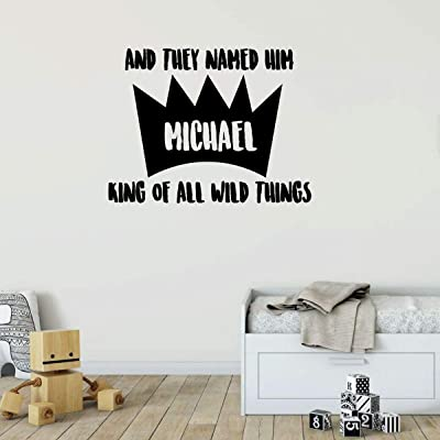 Personalized Wall Decal for Boys   Custom 'And They Named Him Michael' Quote   Where The Wild Things Are Vinyl Lettering Decor for Kids Bedroom, Playroom, or Baby Nursery   Black, White, Other Colors: Handmade