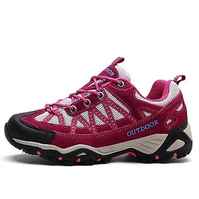 Chaussures de randonnée en cuir et en cuir pour hommes / femmes chaussures de trekking antidérapantes d'automne et d'hiver légères et respirantes , Rose Red , 39