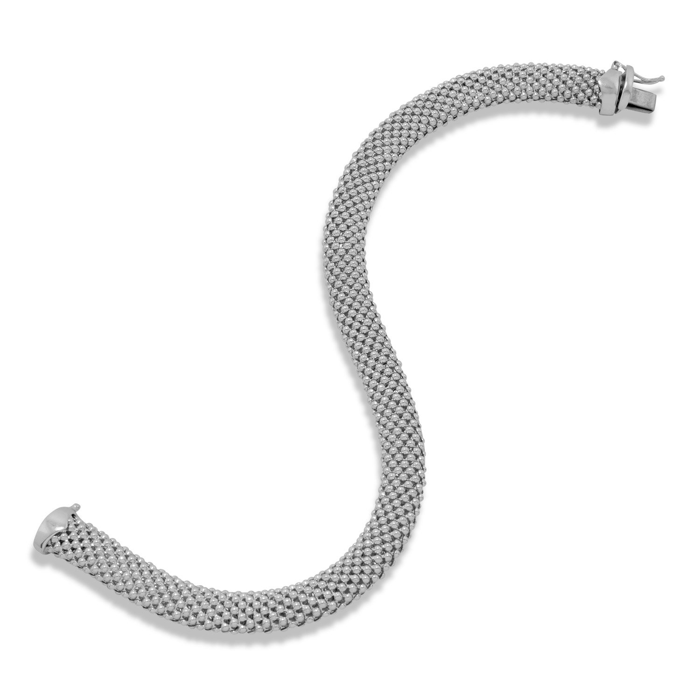 8 Inch Rhod. P. Bracelet Hollow Beaded Mesh .925 Sterling Silver