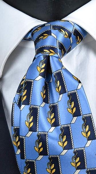 Corbata de hombre con impresión azul con micro fantasía amarilla ...
