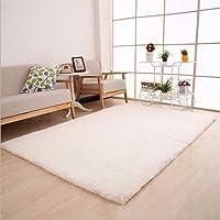 LovemyhomeDD Rectangle Modern Shag Floor Rug Anti-Skid Carpet Dining Room Home Bedroom Floor Mat (40x60cm, White)