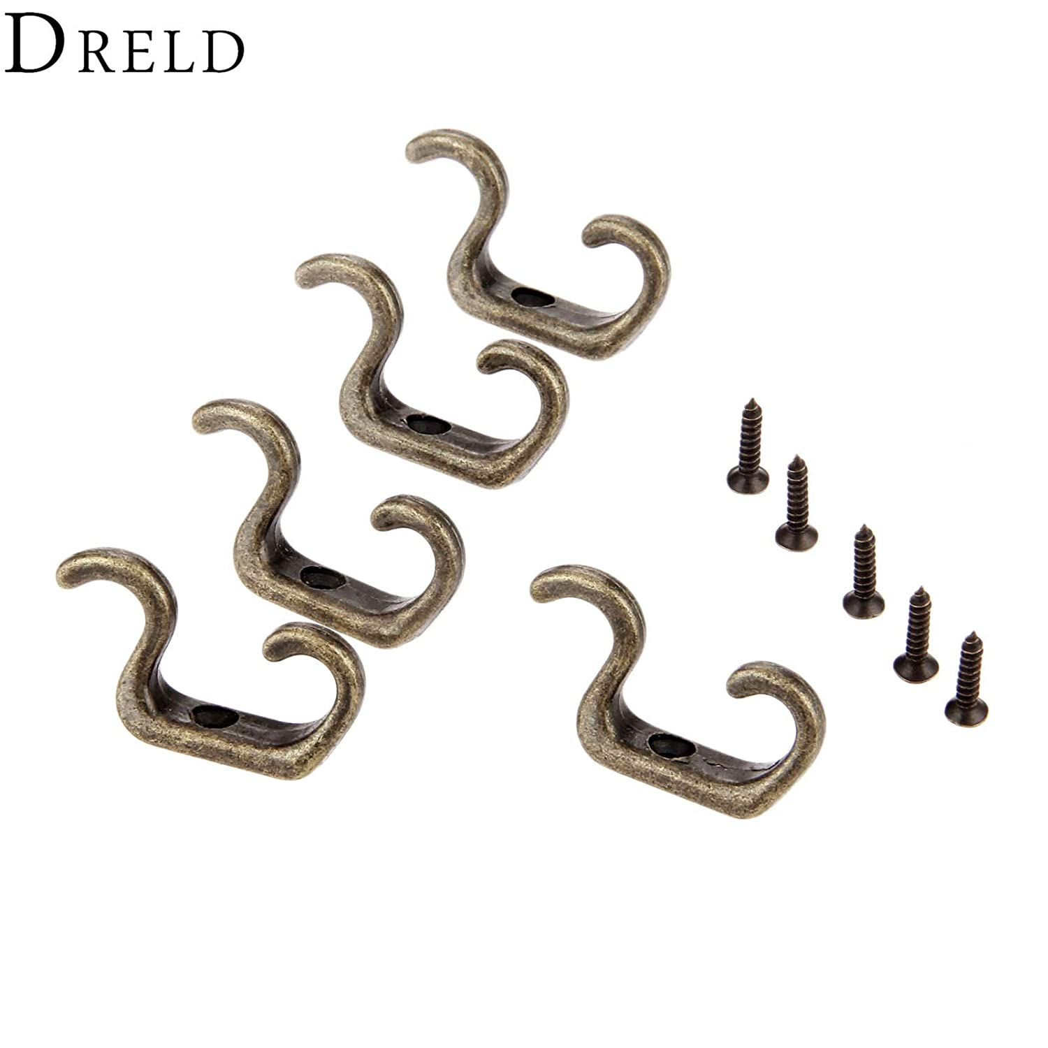 5Pcs Antique Bronze Coat Clothes Towel Hat Hangers Wall Door Hooks Zinc Alloy