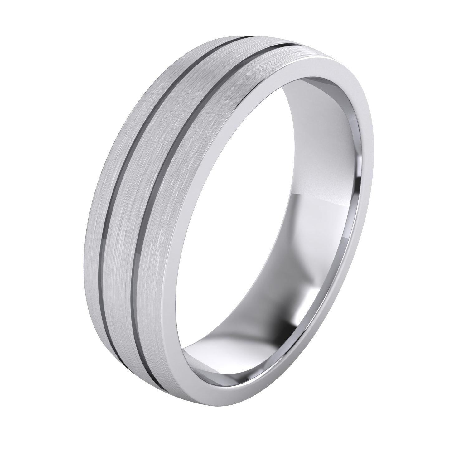Heavy Solid Sterling Silver 6mm Unisex Wedding Band Comfort Fit Domed Ring Two Grooves Brushed Surface (7.5)