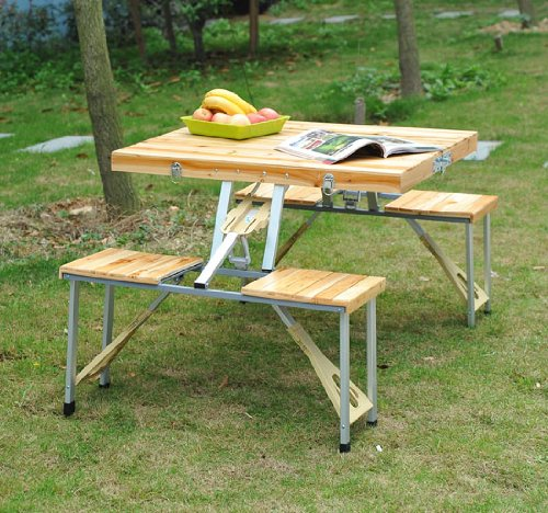 Outsunny 4 Person Wooden Portable Compact Folding Suitcase Picnic Table Set With Umbrella Hole