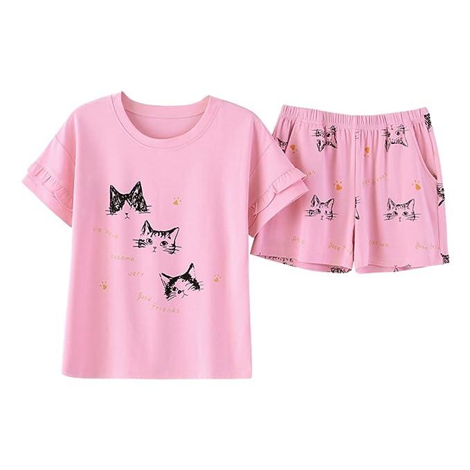 Binhee Conjunto Pijamas De Mujeres Patrón De Dibujos Animados De Gato Ropa De Dormir Sexy Para El Verano: Amazon.es: Ropa y accesorios