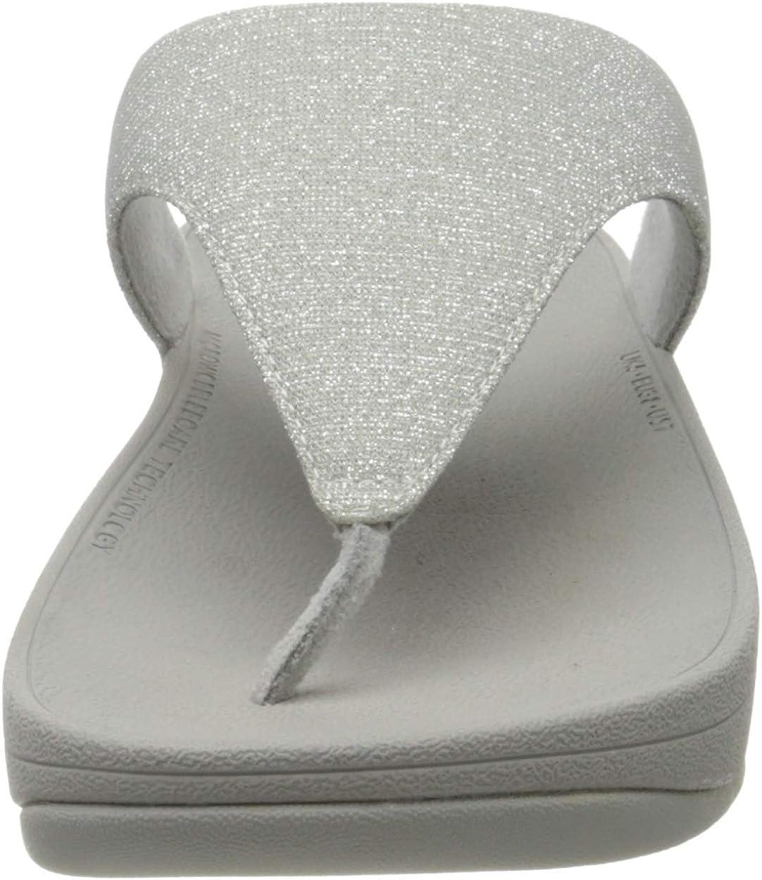 Fitflop Lottie Toe Post-holiday Glitz, Sandales Bout Ouvert Femme Argenté Silver 011