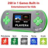 "QINGSHE Kids Handheld Game Player, Portable 2.5"" Color LCD Video Game Player with 260 in 1 Games,Perfect Birthday Gift for Children-Green"