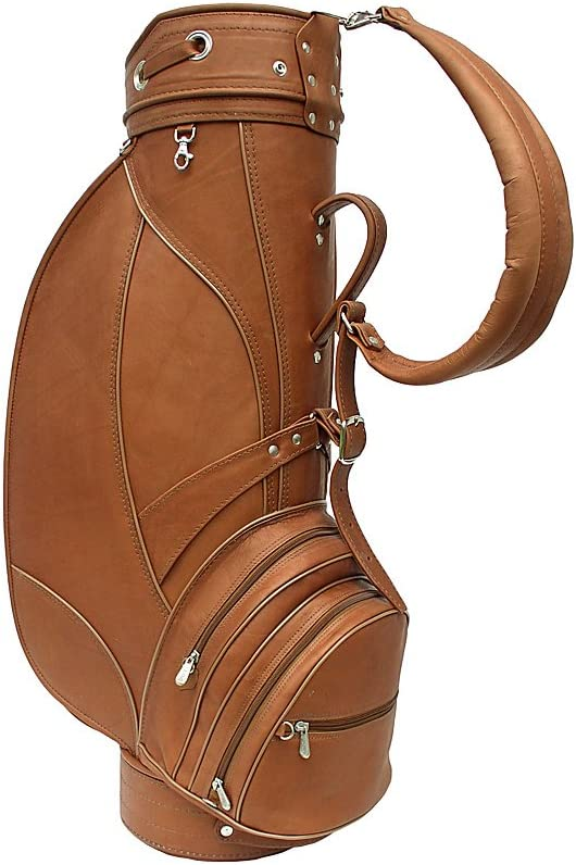 Piel Leather Deluxe 9in Golf Bag, Saddle
