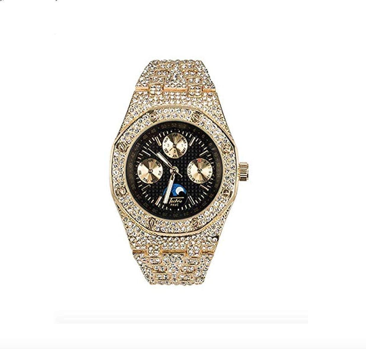 Reloj de pulsera cronógrafo Bust Down AP Supreme con circonitas cúbicas y diamantes, color oro plata