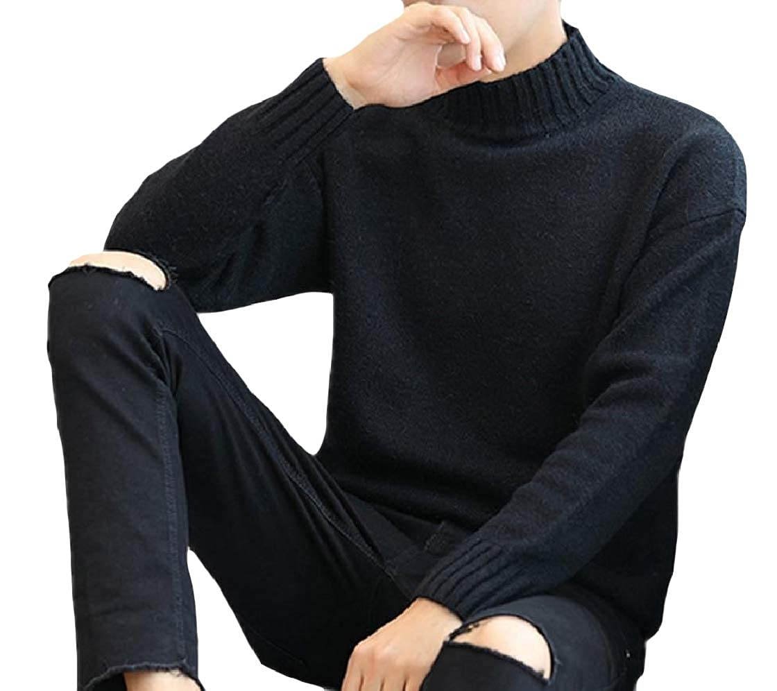 YUNY Men Turtleneck Long Sleeve Knitted Pure Colour Warm Sweater Pullover Pattern3 S
