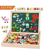 Uping magnetisches Holzpuzzle Staffelei doppelseitige Tafel Holzbrett Doodle 115 Puzzel- und 40 Buchstaben-Teile für Kinder ab 3 Jahre Bauernhof