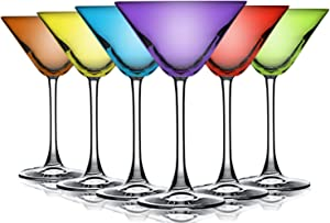 Party Color Top Accent Martini/Cocktail 10 oz Wine Glasses - Set of 6 by TableTop King - Additional Vibrant Colors Available