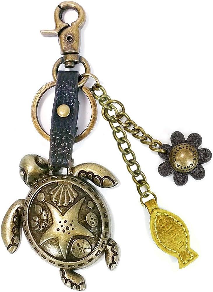 Sea Turtle Key Chain with Tassel Aqua Turtle Keychain with Tassel Round Sea Turtle Keychain with Tassel Turtle Lover Keychain