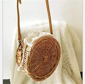 BOBOMIMI Bali Island Thailand Circular Hand Vintage Rattan Woven Bag Satin  Handbag 13199b9dfef7d
