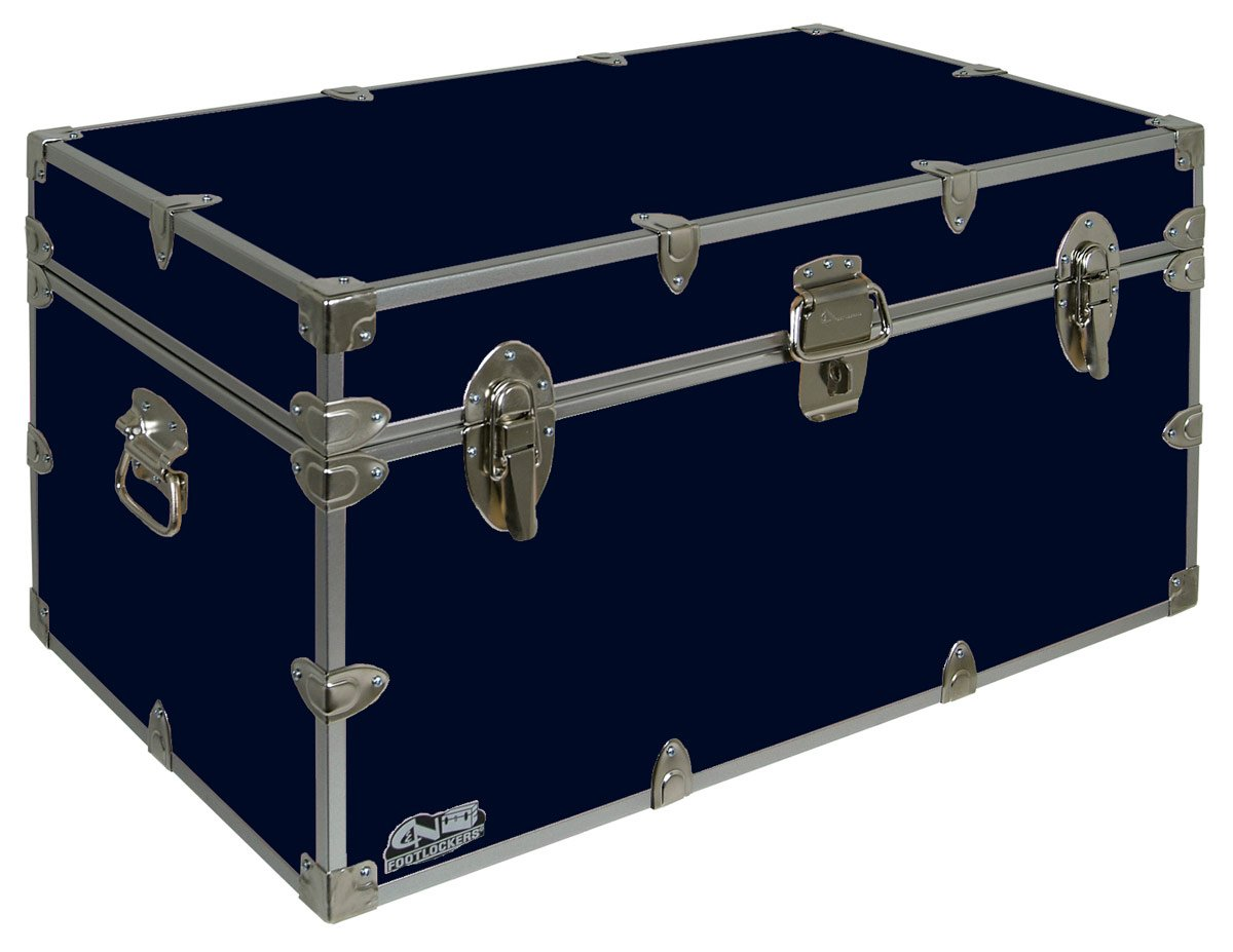 C&N Footlockers UnderGrad Storage Trunk - College Dorm Chest - Durable with Lid Stay - 32 x 18 x 16.5 Inches (Navy)