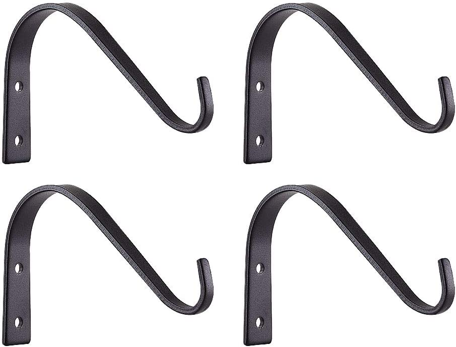 [6 INCHENS] Rustic / Farmhouse Iron Wall Hooks for Hanging Lanterns Coats Mason Jar Sconces, Heavy-Duty Metal Hooks for Plant Hangers Lights and Artworks,Vintage Home Decor Indoor & Outdoor- 4 Pack
