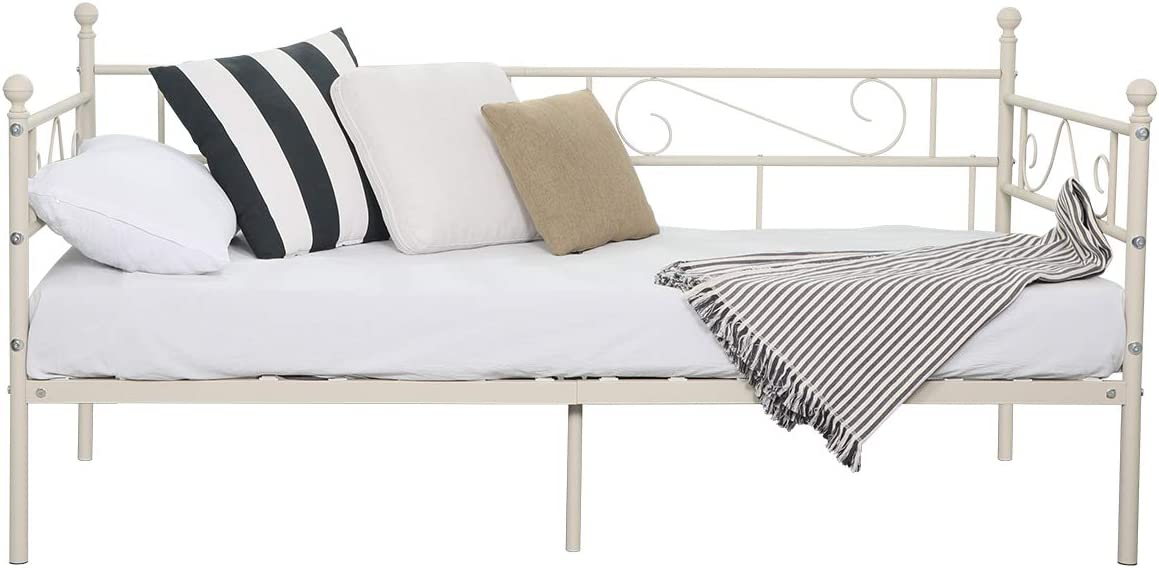 Aingoo sofá Cama Armadura de Cama con tablillas Cama de día Cama de Invitados 90 x 190 CM (Crema)