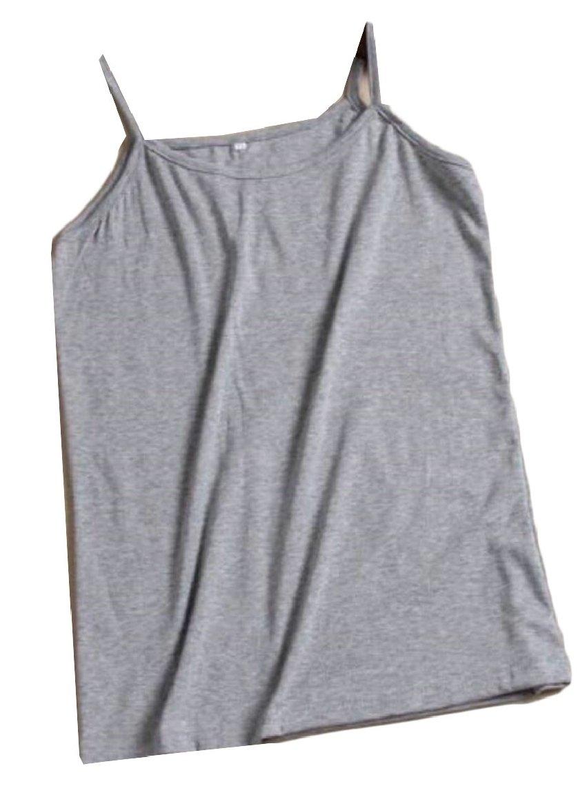 ouxiuli Women's Stretch Cotton Cami Sleeveless Tee Bra 1 L