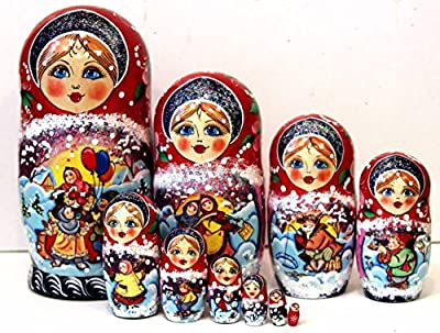 New Set of 10 pcs 9,8 inch 25 cm Nesting Dolls Authentic Russian Wooden Matryoshka Birthday Gifts Home Decoration