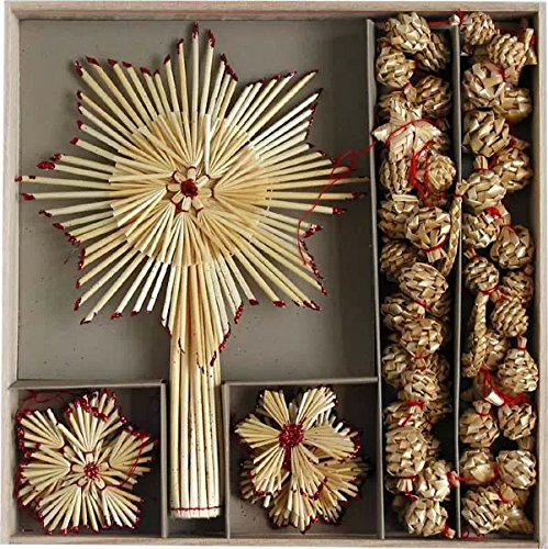 Straw Ornaments - Box of Ornament, Garland & Topper Assortment