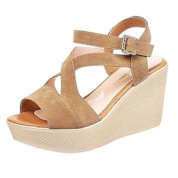 Sandalias de Punta Descubierta para Mujer Alpargatas Plataforma Romanas Zapatos de Playa Bohemias Zapatillas Tacon Planas Sólido Verano con Tiras Anchas ...