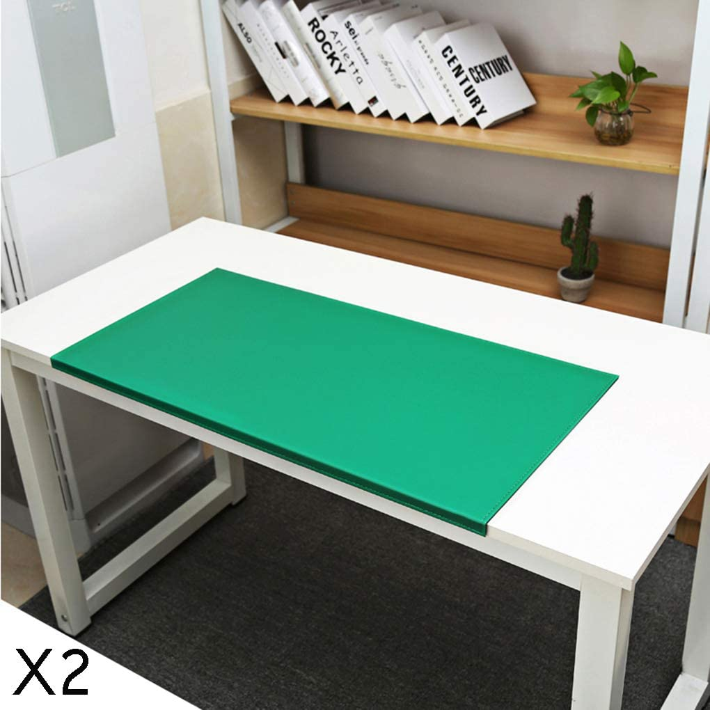 SJASD Multifunctional Office Desk Pad PU Leather Extended Mouse Pad Waterproof Desk Writing Pad for Office and Home,Green,90x48cm