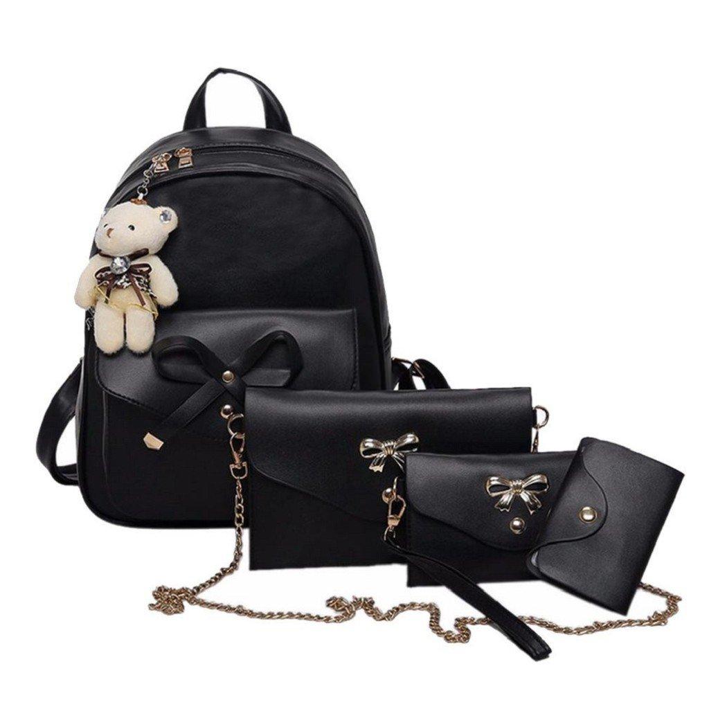 Creazrise Women Backpack,Women 4PCs Leather backpack Solid Color Bowknot Lovely Shoulder Bag (Black)