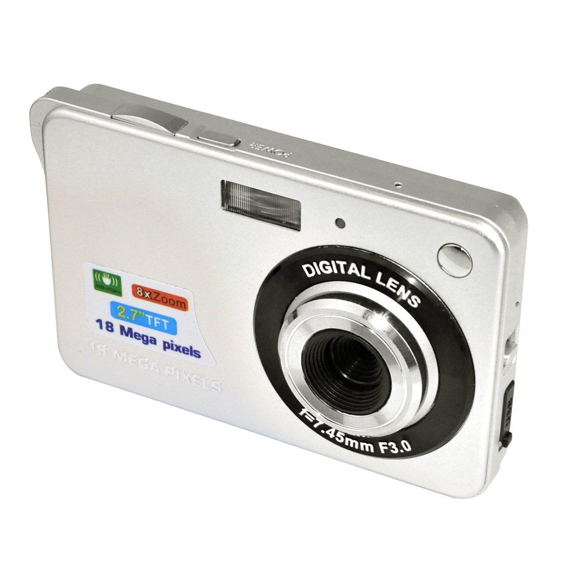 Digital Camera, eTTgear Mini 18MP 2.7'' 8 Zoom Anti-shake Full HD Digital Camera Family Recording (Sliver) by eTTg