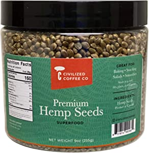 Civilized Coffee Hemp Seeds Whole Superfood for Snacking & Baking Gluten-Free, Jar (9 oz)