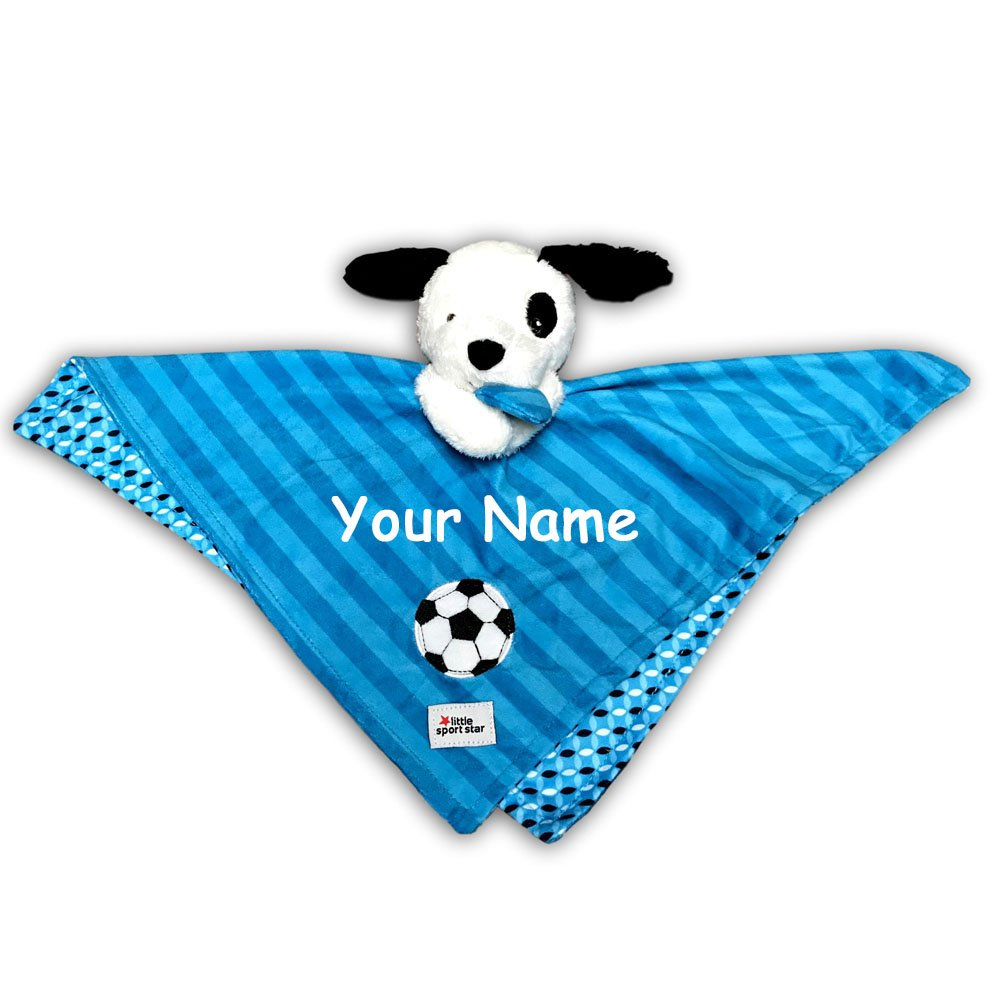Kids Preferred Personalized Little Sports Star Blue and White Puppy Dog with Soccer Ball Snuggler Baby Blanket with Name Embroidery - 18 Inches