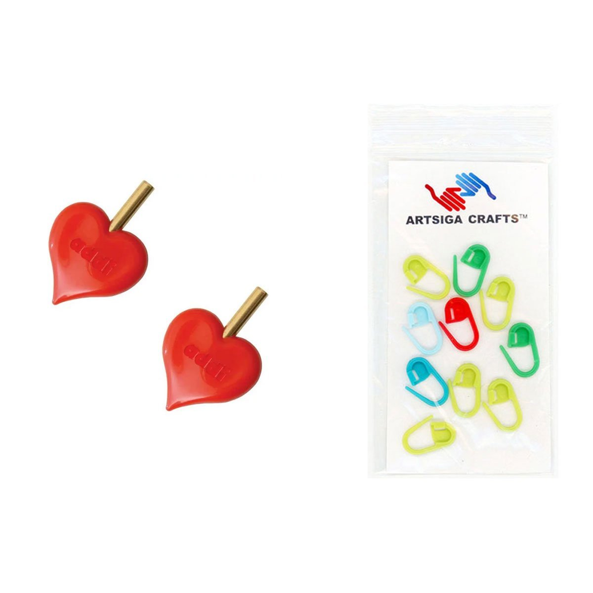 addi Knitting Needles Click Interchangeable Turbo HeartStopper End-Caps Bundle with 10 Artsiga Crafts Stitch Markers