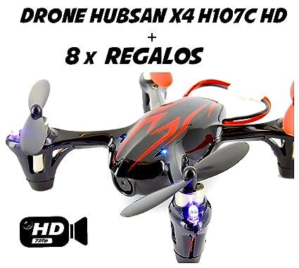 Hubsan X4 H107C Drone con cámara HD 2MP (Negro/rojo) + 8 REGALOS ...