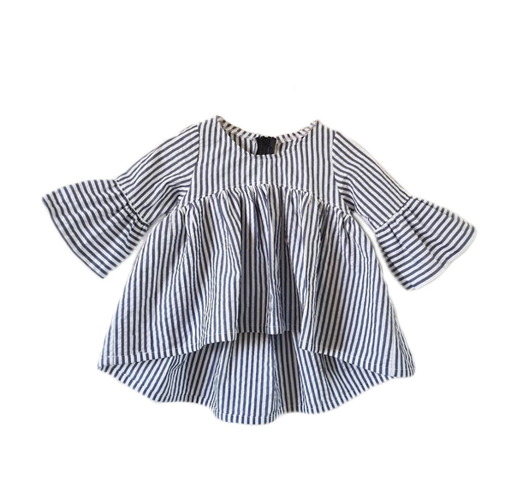 Baby Girl Stripe Top Blouse Autumn Ruffle Sleeve Shirt Casual Clothes (Black+White, 3-6 Months)