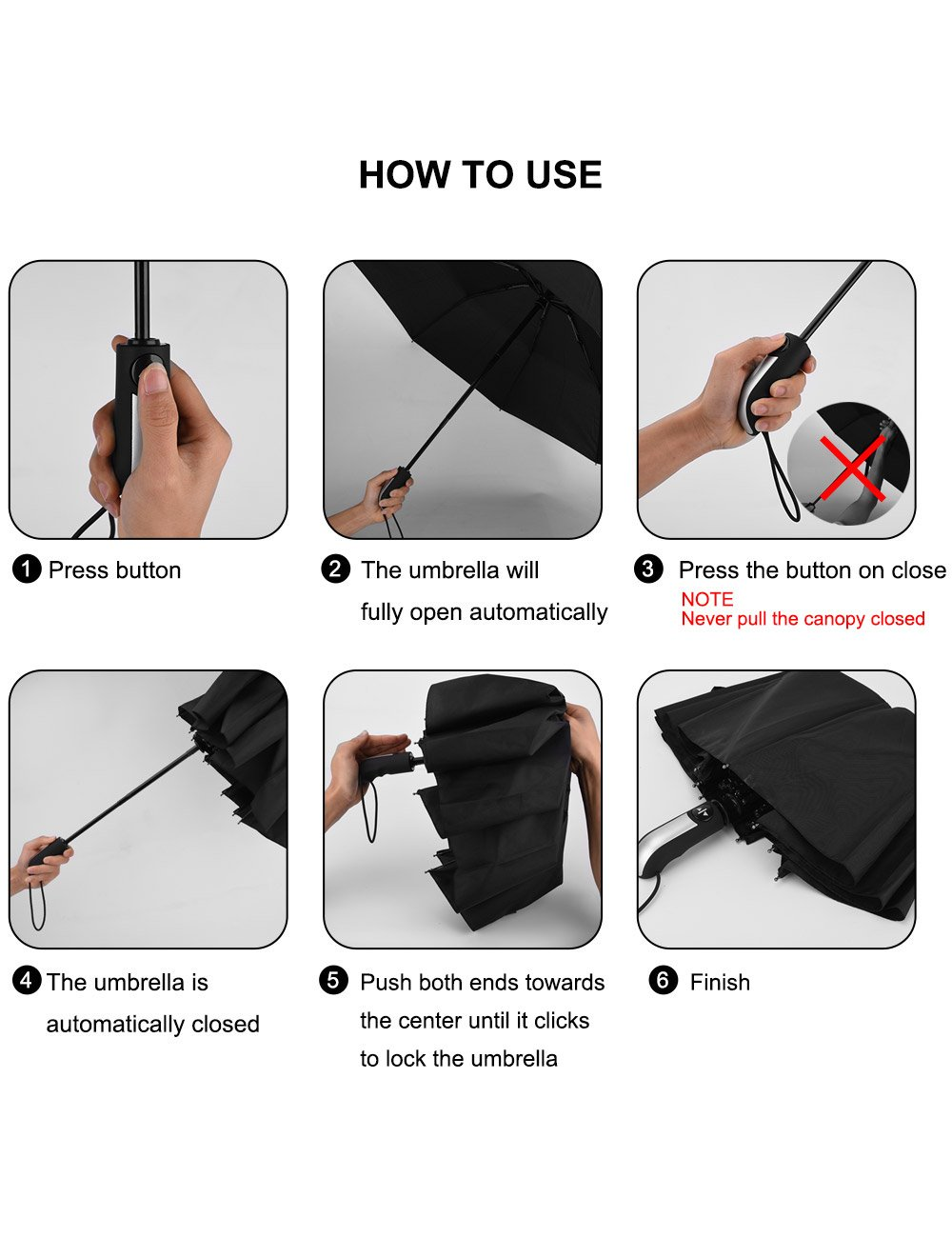 Beownwear Travel Umbrella Windproof Folding Automatic Umbrellas 10 Ribs(Black) by Beownwear (Image #6)
