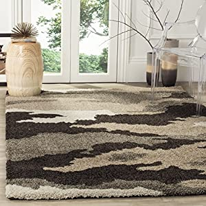 Gray camo rug in living room