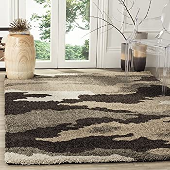 "Safavieh Camouflage Shag Collection SG453-1391 Beige and Multi Area Rug (53"" x 76"")"