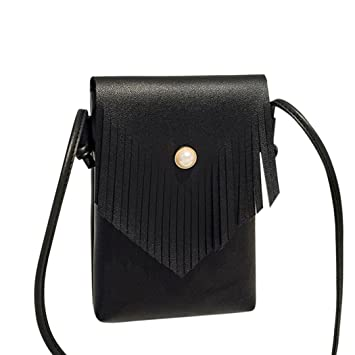 3633450549c Amazon.com  Bags,AIMTOPPY Fashion Women Tassels Pearl Crossbody Magnetic  buckle Bag Shoulder Bag Phone Coin Bag (Black, free)  Home   Kitchen