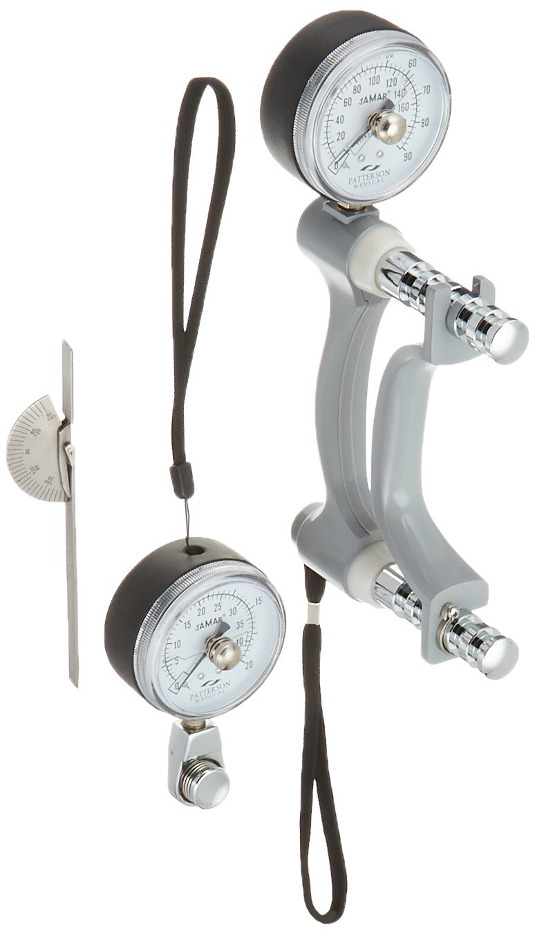Jamar Hydraulic Hand Evaluation Kit, Includes Hydraulic Hand Dynamometer, Pinch Gauge, & Finger Goniometer, Inexpensive Devices to Measure PSI, Max Force Indicator to Measure Hand & Grip Strength
