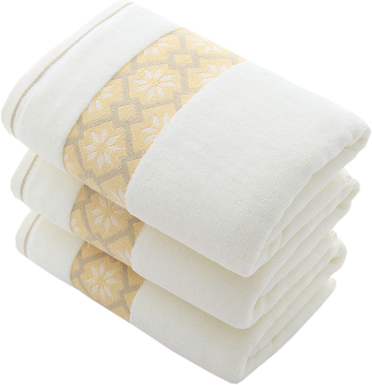 Hand Towels Set of 3 Diamond Pattern 100% Cotton Super Soft Highly Absorbent Hand Towels for Bathroom 14 x 29 Inch (Yellow)
