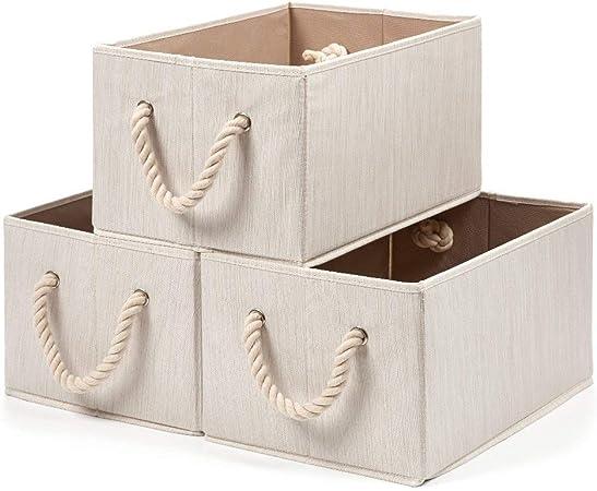 EZOWare 3 pcs Cajas de Almacenaje, Caja Decorativa de Tela Plegable Resistente con Manijas para Ropa, Juguetes, Armario, Dormitorio, Estanterías y Mas - Color Beige Natural: Amazon.es: Hogar