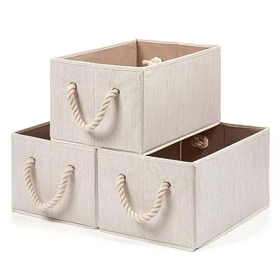 EZOWare 3 pcs Cajas de Almacenaje, Caja Decorativa de Tela Plegable Resistente con Manijas para Ropa, Juguetes, Armario, Dormitorio, Estanterías y Mas ...