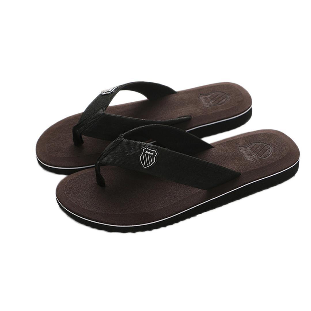 yjydadaメンズ夏ビーチサンダルスリッパビーチサンダルインドア&アウトドアカジュアル靴 B07B614YWG 43|ディープブラウン ディープブラウン 43