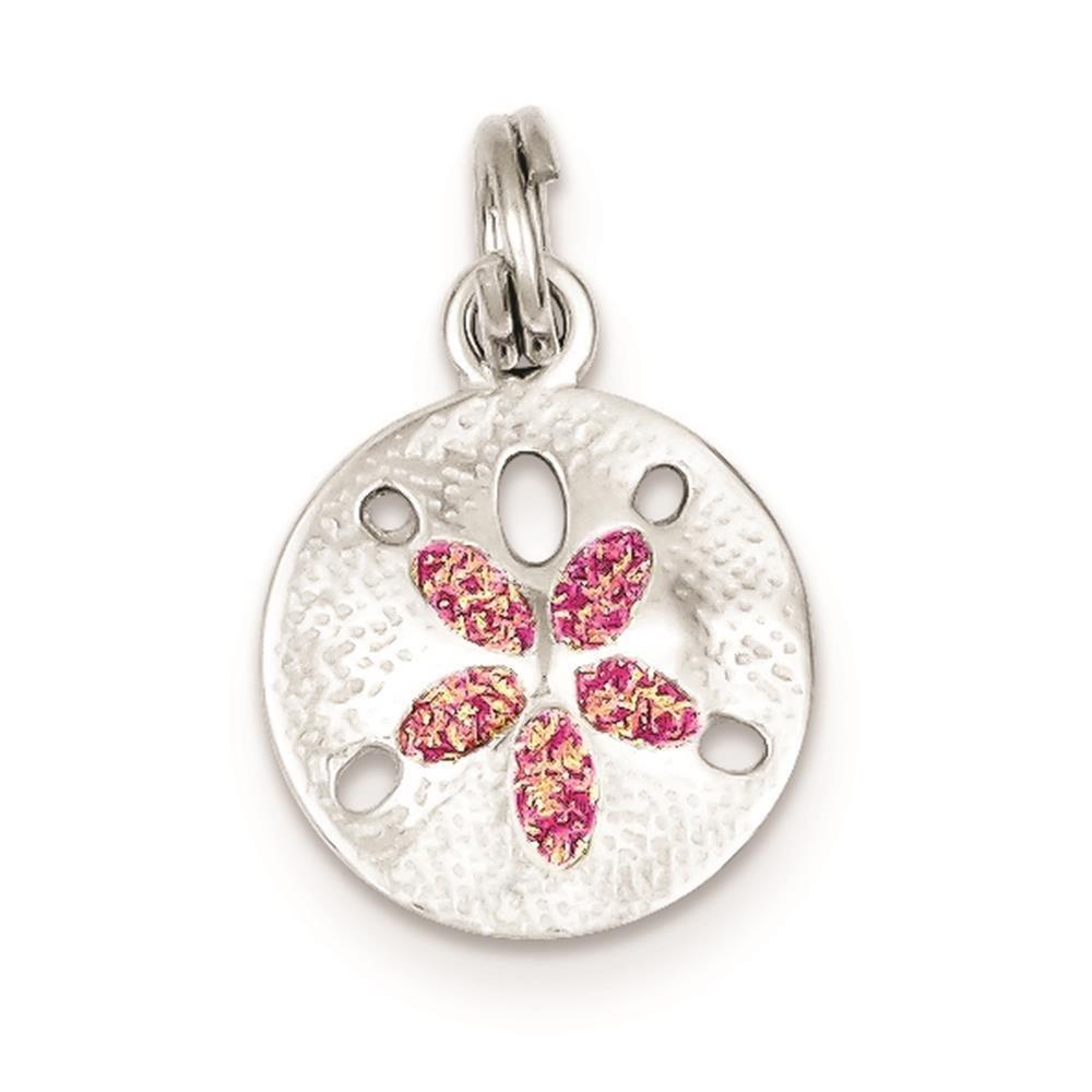 925 Sterling Silver Enamel Sanddollar Polished Charm Pendant