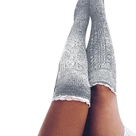 VJGOAL Moda casual de mujer color sólido Muslo Medias largas de punto Sobre la rodilla Mantener el calor Calcetines de algodón cómodos(Un tamaño, ...