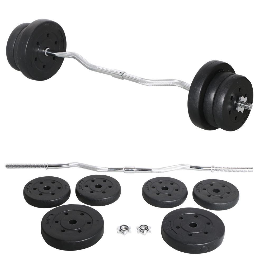 Yaheetech 55lb Olympic Barbell Dumbbell Weight Set Gym Lifting Exercise Workout Olympic Bar Curl Bar