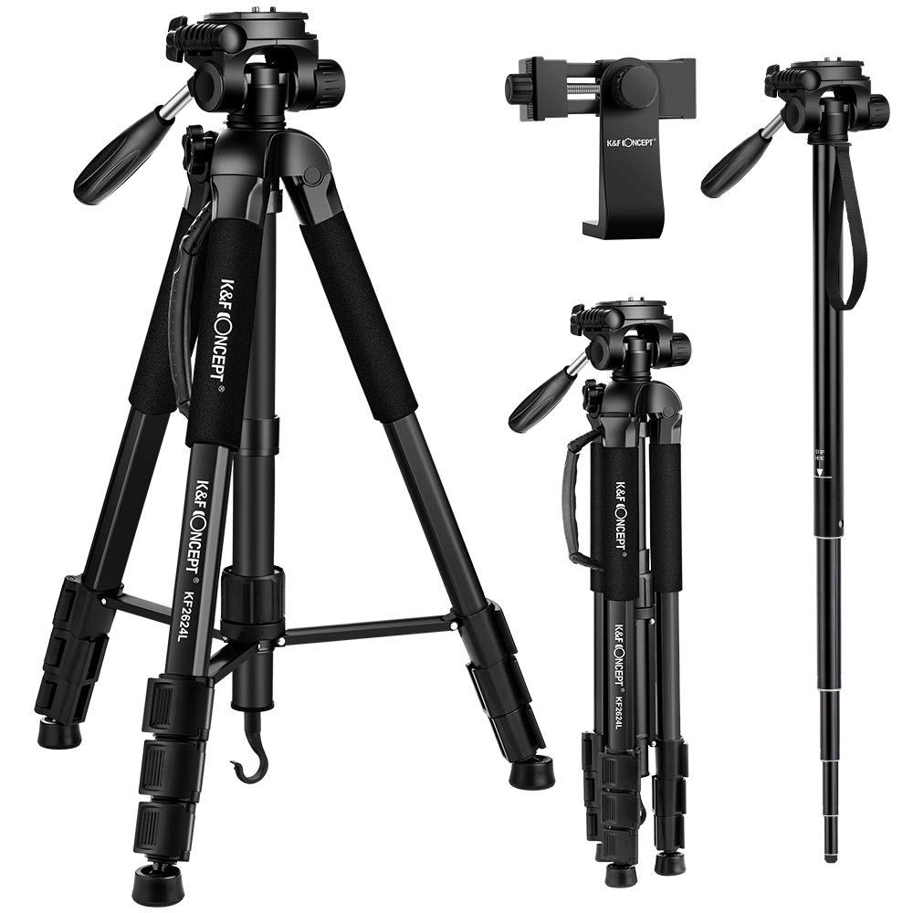 K&F Concept Trípode Complecto TM2624L Trípode Liviano con Monopie 173cm para Cámara Canon Sony Nikon con
