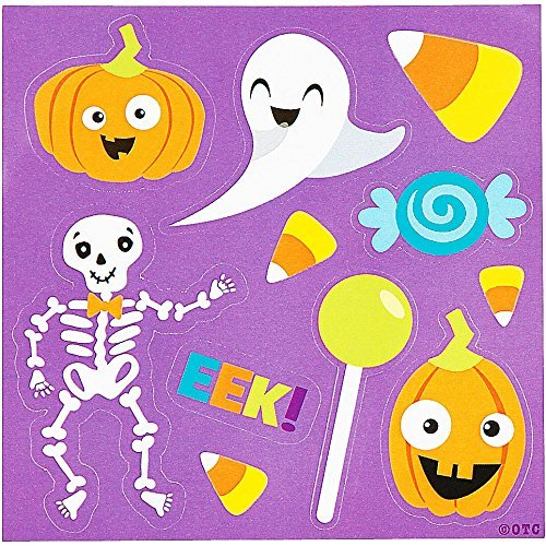 Halloween Themed Sticker Sheets Party Favor - 50 pack - featuring Ghost, Jack O Lantern Pumpkin, Skeleton, Candy Corn and more -