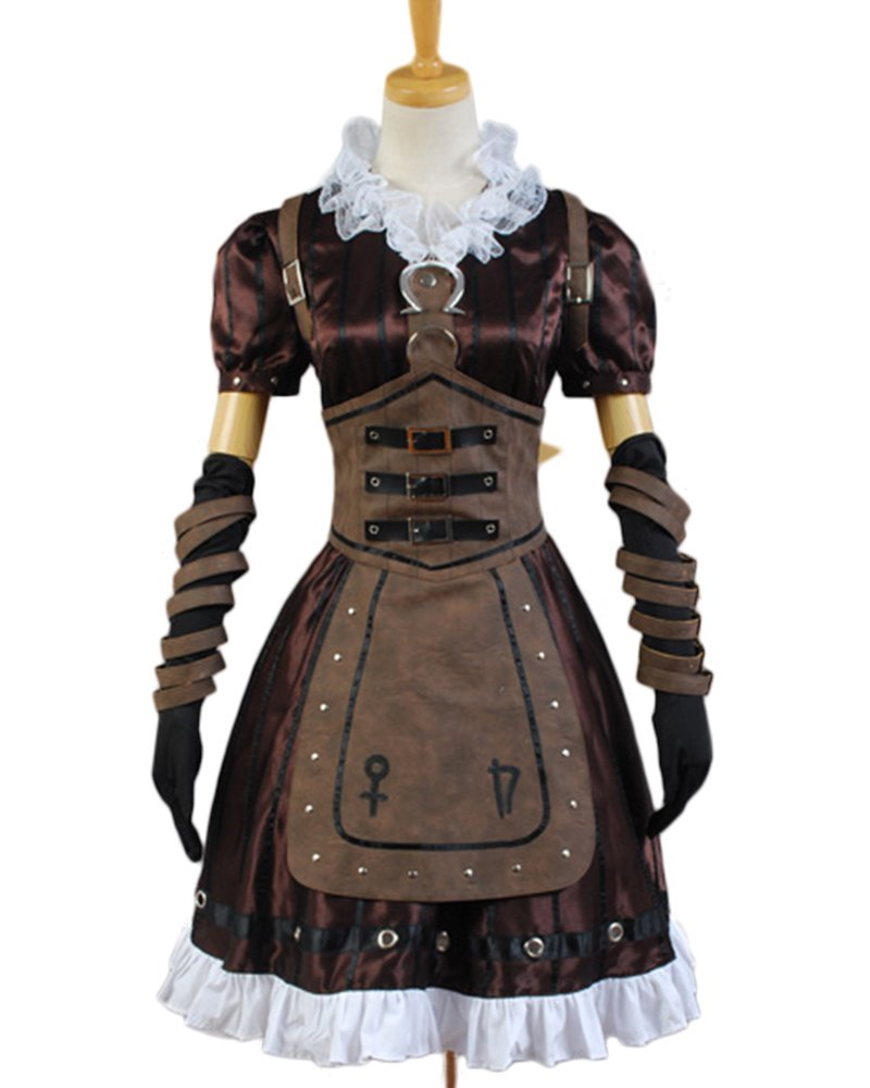 a4a050b6b768e Alice Madness Returns Cosplay Costume Steamdress Maid Dress+Necklace Apron  Suit