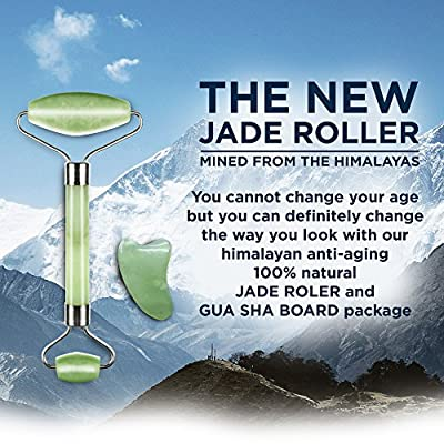 Jade Roller & Gua Sha Scraping Massage Tool By Truweo - Himalayan Anti-aging 100% Natural Facial Jade Stone Set - Face Eye Neck Beauty Roller For Slimming & Firming - Rejuvenate Skin & Remove Wrinkles